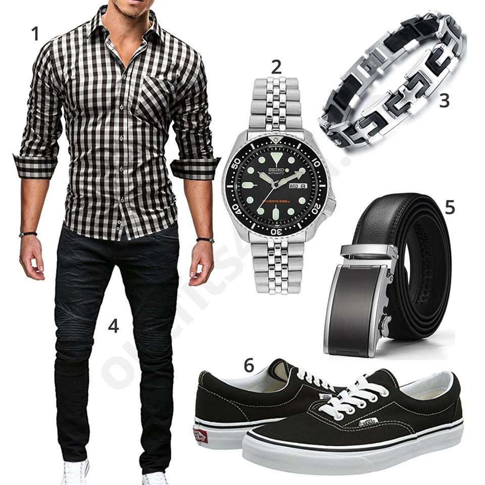 Schickes Männer-Outfit mit kariertem Merish Hemd und schwarzer Jeans 6e4c355f0f3b