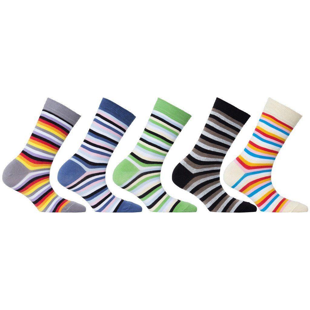 Womens 5-Pair Colorful Stripe Crew Socks