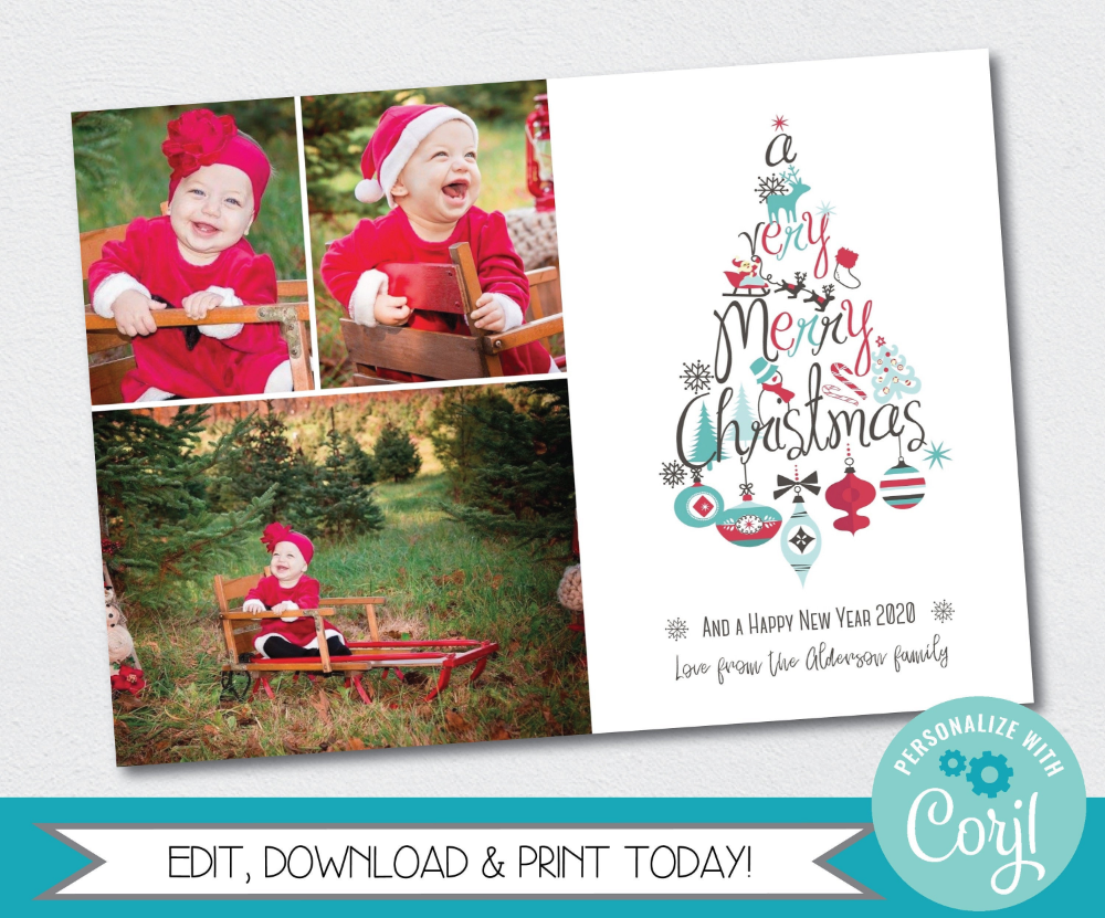 Editable Photo Christmas Card Template Printable Very Merry Etsy Christmas Photo Card Template Christmas Card Template Christmas Photo Cards