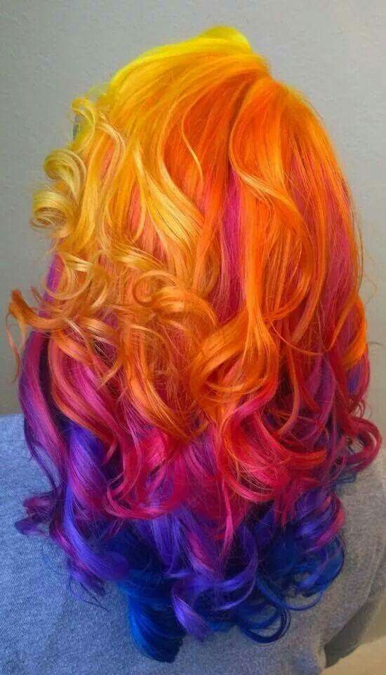 Flame Red Orange Mixed With Purple Violet And Blue Hair Color Hair Styles Sunset Hair Long Hair Styles
