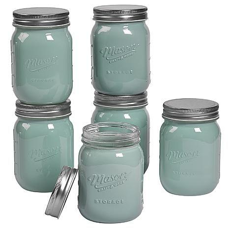 Mason Pint (16oz) Opaque Green Mason Jars, 6 Pack