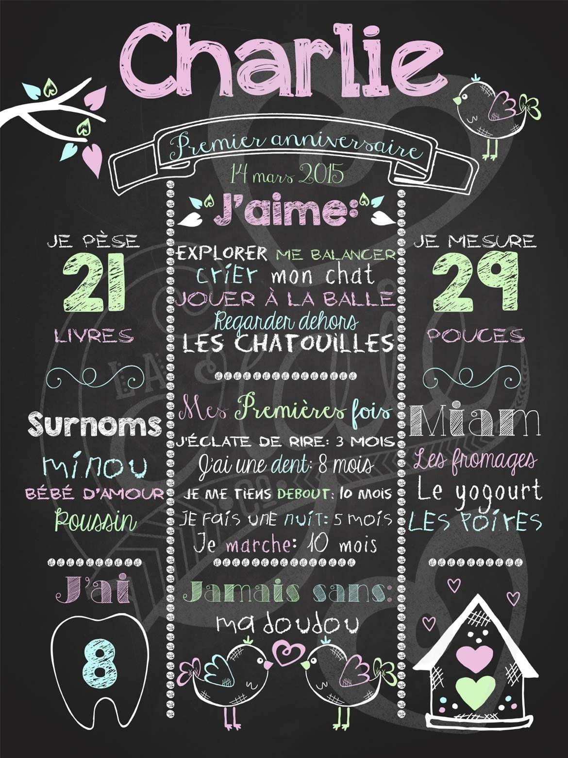 Affiche personnalisée 1er anniversaire Love shack (rose)   28,00$ #chalkboard   1er anniversaire ...