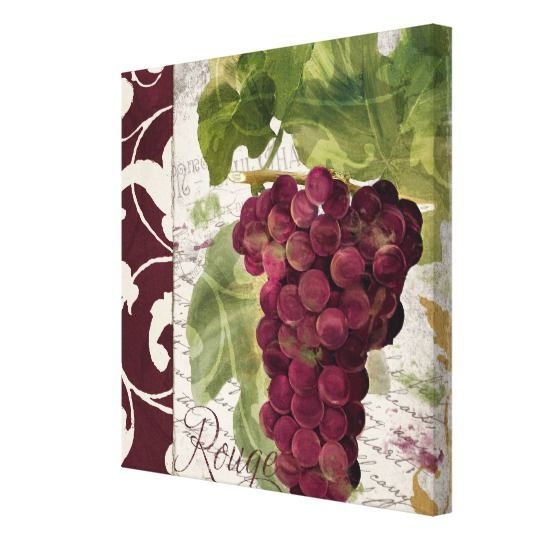 Le Bon Vin, Red Wine Grapes Decorative Wall Decor | Decorative walls ...