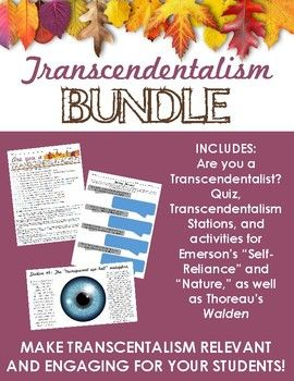 Transcendentalism BUNDLE - Fun quiz, stations, & activities (Emerson