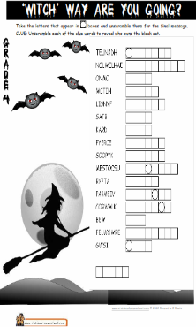 Grade 4 Halloween Worksheet Double Puzzle Word Puzzle Halloween Worksheets Halloween Puzzles Halloween Activities