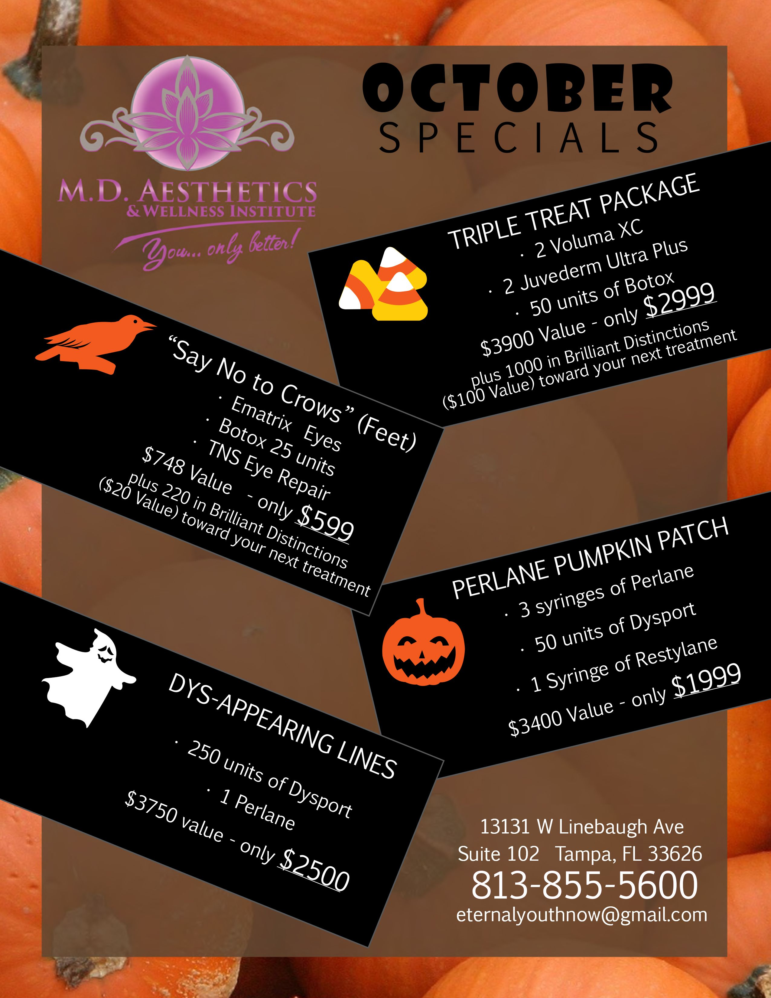 Awesome October Anti Aging Specials At Md Aesthetics Wellness Institute No Tricks Here Only Treats Botox Juv Med Spa Marketing Spa Marketing Botox Party