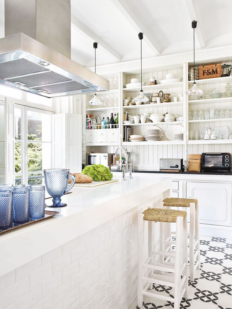 Clean modern kitchen style with open shelving via @thouswellblog