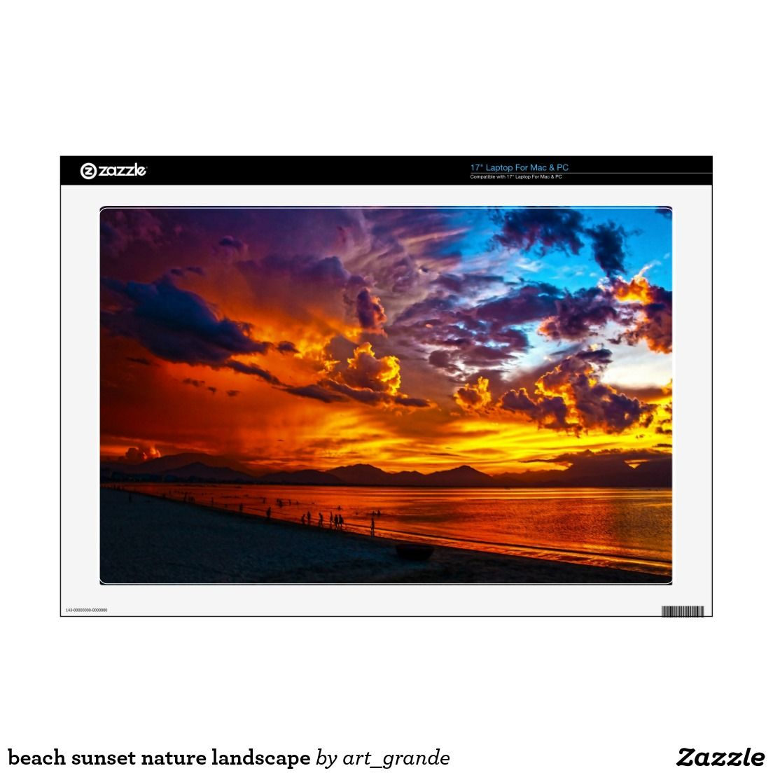 "beach sunset nature landscape 17"" laptop decals"
