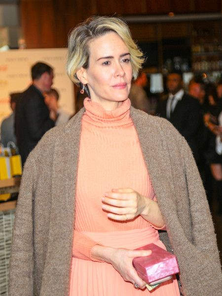 Sarah Paulson is seen arriving at the Gold Meets Golden event held at Equinox.