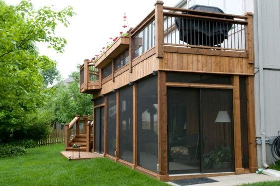 Second Floor Deck With Screened In Porch Designs Back