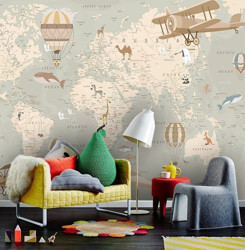 Wallpaper Adhesive Vinyl Nursery Non Toxic World Map With Animals Removable Wall Mural Peel And Stick Baby Room Design Vinyl Wallpaper Nursery Wall Murals