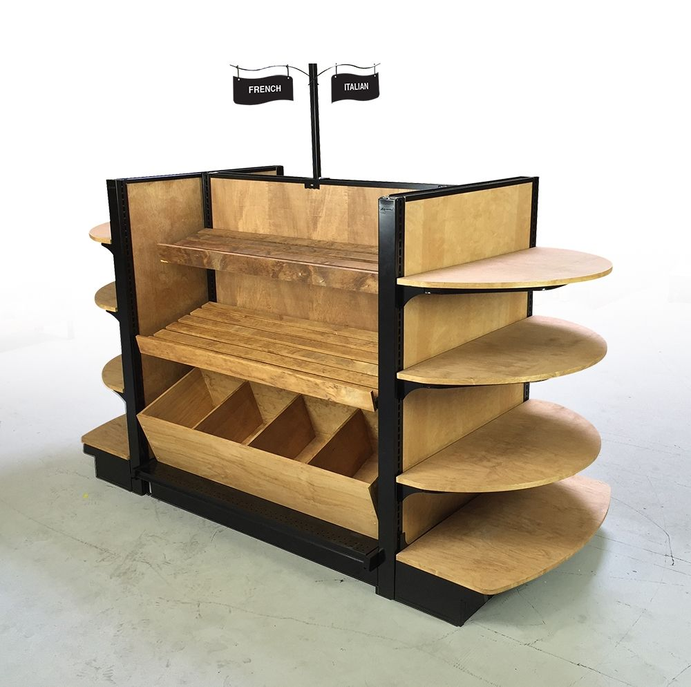 Store fixture wood bread display slat shelves retail for Bookshelf display ideas
