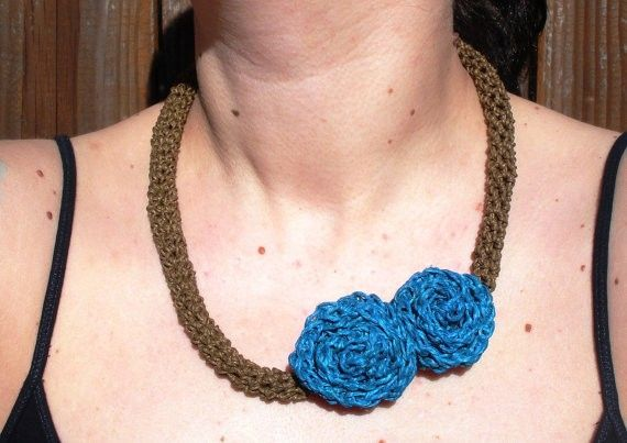 Crochet Necklace With Double Turquoise Roses, Ready To Ship. from Picsity.com