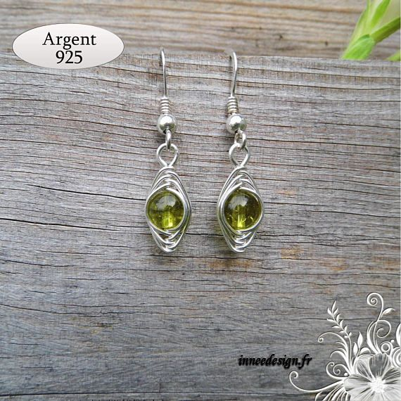 Natural Peridot Boucles D/'oreille Argent Sterling 925
