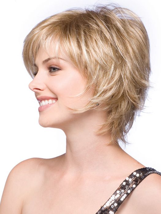 Short face flattering bob with feathered layers and wispy ends Caramel Cr