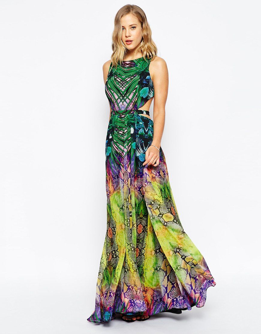 Image 1 of Forever Unique Tropical Mirror Print Maxi Dress With ...