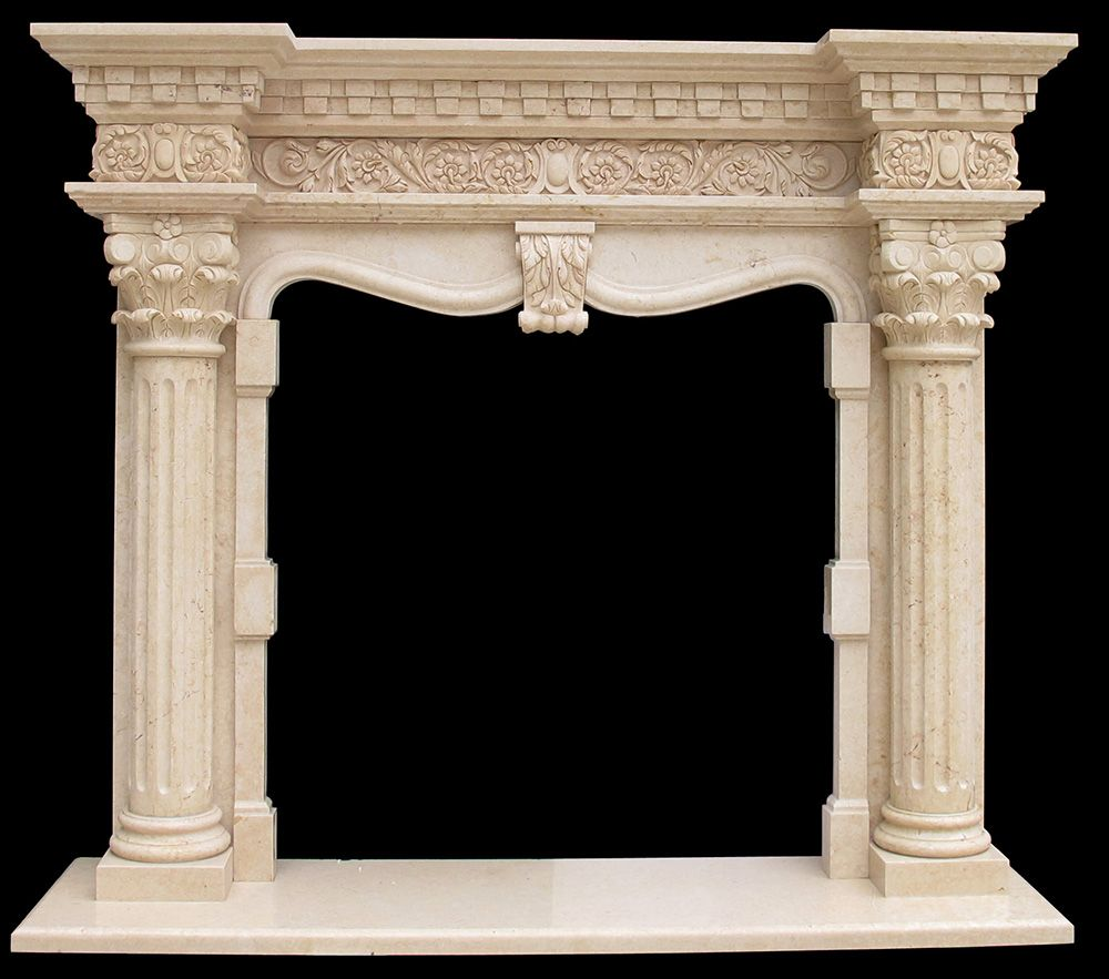 Marble Columns Fireplace Mantel Beige Cream Color Large Surround Kraft Craft
