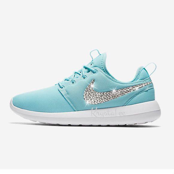 Custom Bling Womens Nike Roshe Two Copa Blue Swarovski Crystal Bling  Sneakers, Running Shoes,