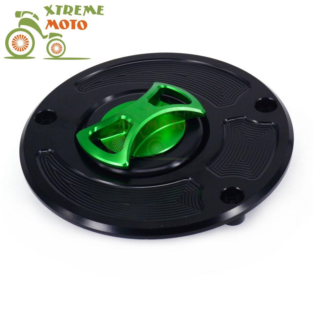 Billet Cnc Green Gas Fuel Tank Cap Keyless Cover For Kawasaki Zx10r
