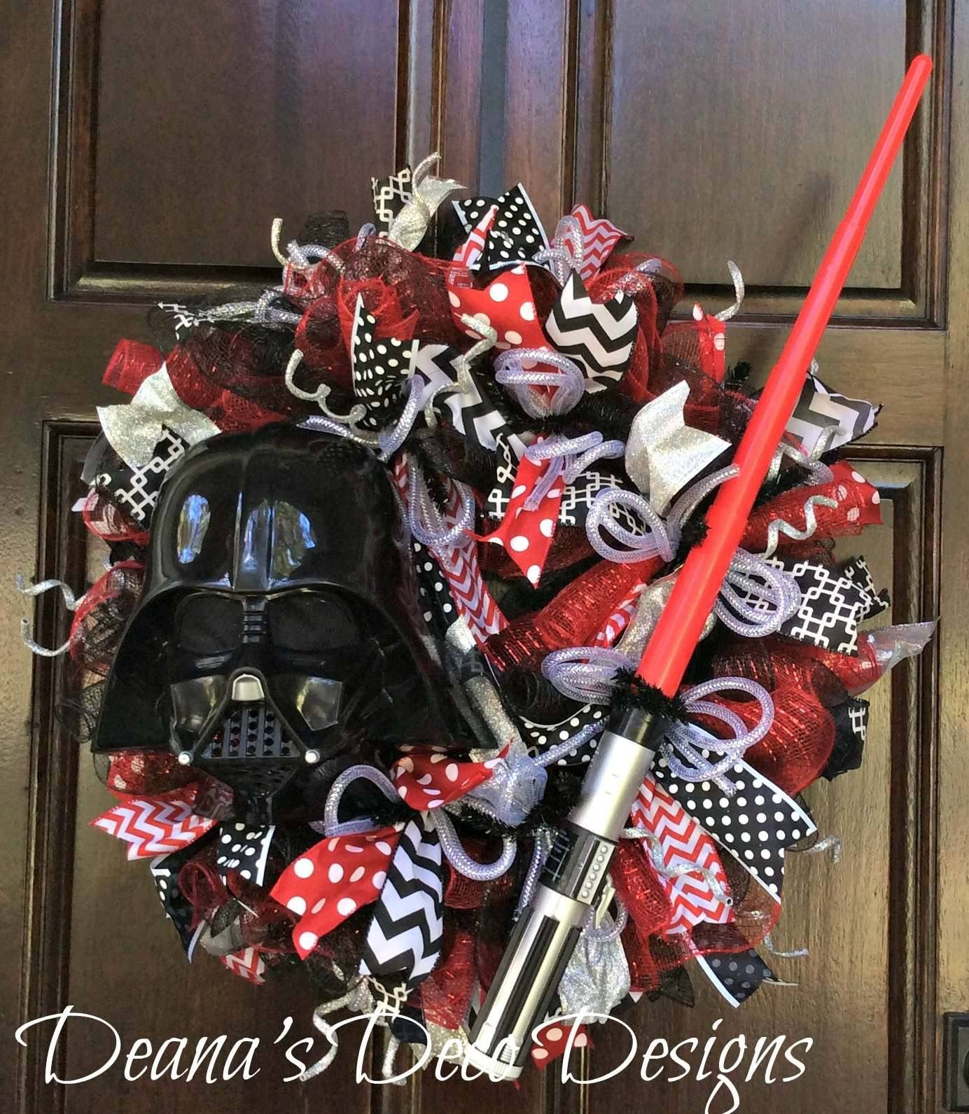 star wars darth vader deco mesh wreath xmas 2017 pinterest navidad marcos y flor. Black Bedroom Furniture Sets. Home Design Ideas