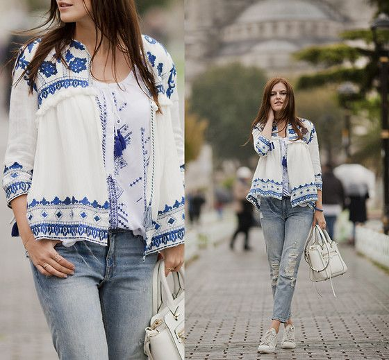Get this look: http://lb.nu/look/7848392  More looks by Viktoriya Sener: http://lb.nu/viktoriyasener  Items in this look:  Sheinside Jacket, Style Moi Blouse, Mango Jeans, Rebecca Minkoff Bag, Mango Trainers   #bohemian #romantic #vintage