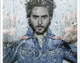Jared Leto rock star from 30 Seconds to Mars behind a window on a rainy day in a Digital illustration Collage for Instant Download or print