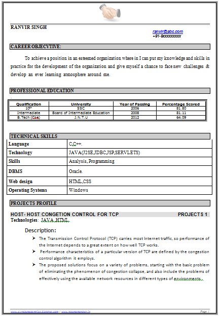 example template of a b tech engineer fresher with great career objective and expected job profile