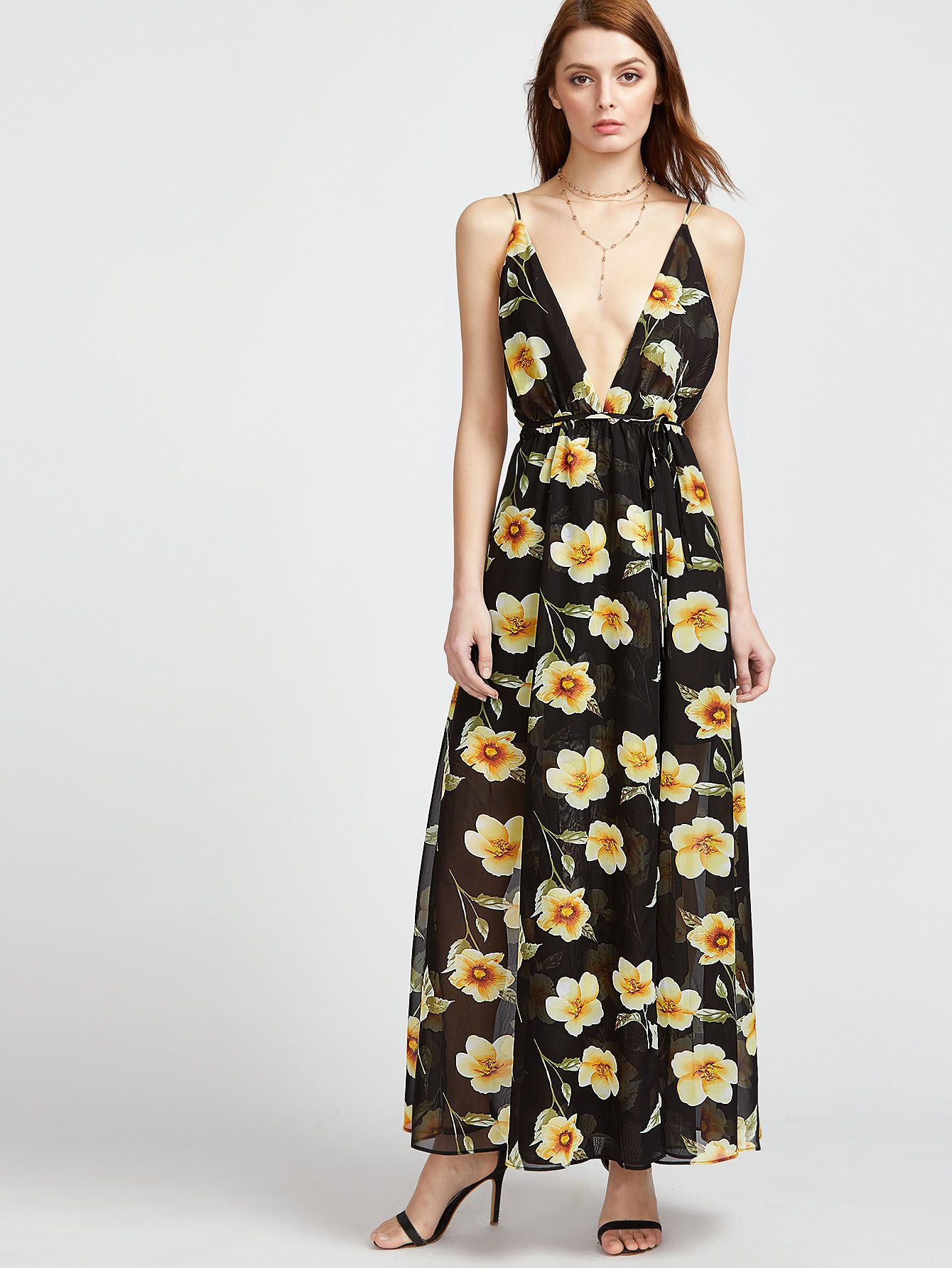 dd51e80918 Black Flower Print Plunge Neck Caged Back Wrap Dress  afflink ...