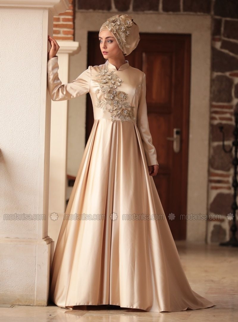 Gold Fully Lined Crew Neck Muslim Evening Dress In 2019