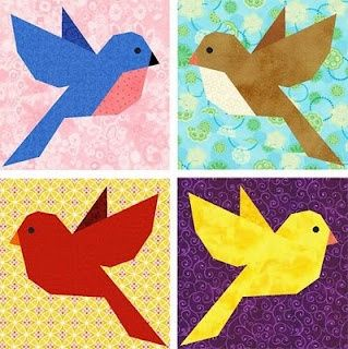 Free Paper Piecing Patterns Of A Bird Tree Trunk And
