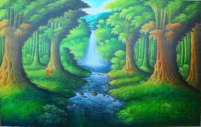 28 Gambar Pemandangan Hutan Dan Air Terjun 31 Terkini Lukisan Pemandangan Air Terjun Yang Simple Download Dibingkai 5 Panel H Di 2020 Pemandangan Hutan Air Terjun