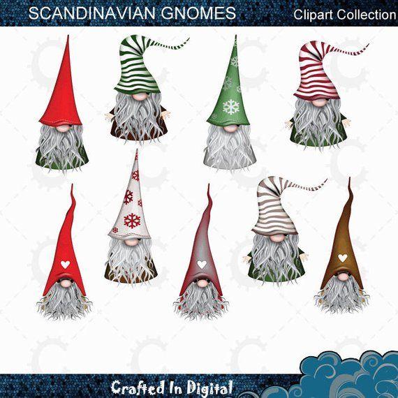 9 Scandinavian Christmas Gnomes, Tomte, Nisse, Santa, Elf - Clipart Collection