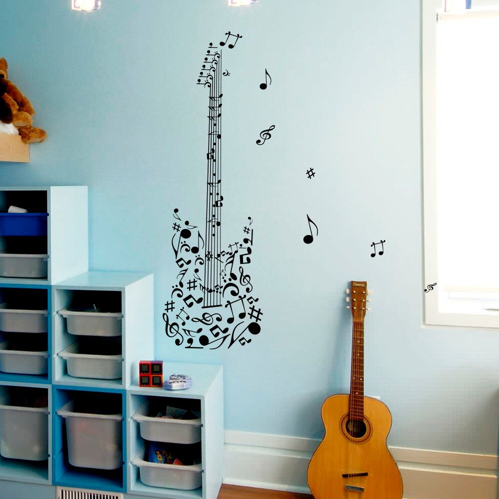 Guitar Wall Decal Notes Treble Music Musical Instrument Design ...
