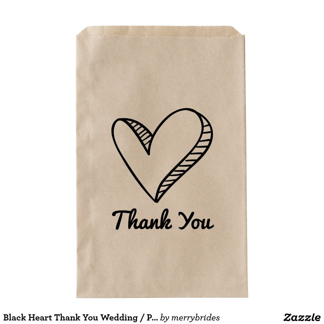 Black Heart Thank You Wedding / Party Favor Bag | Black heart, Favor ...