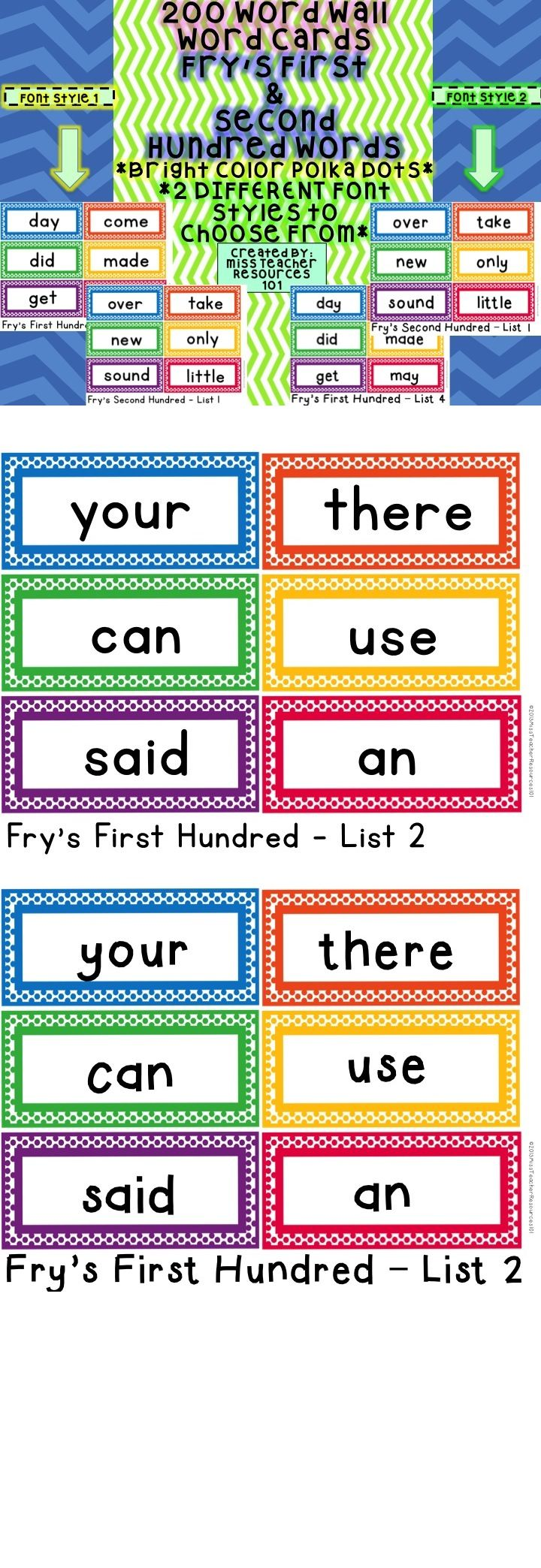 Worksheet Fry Word Cards sight words word wall cards frys first 200 color polka dots