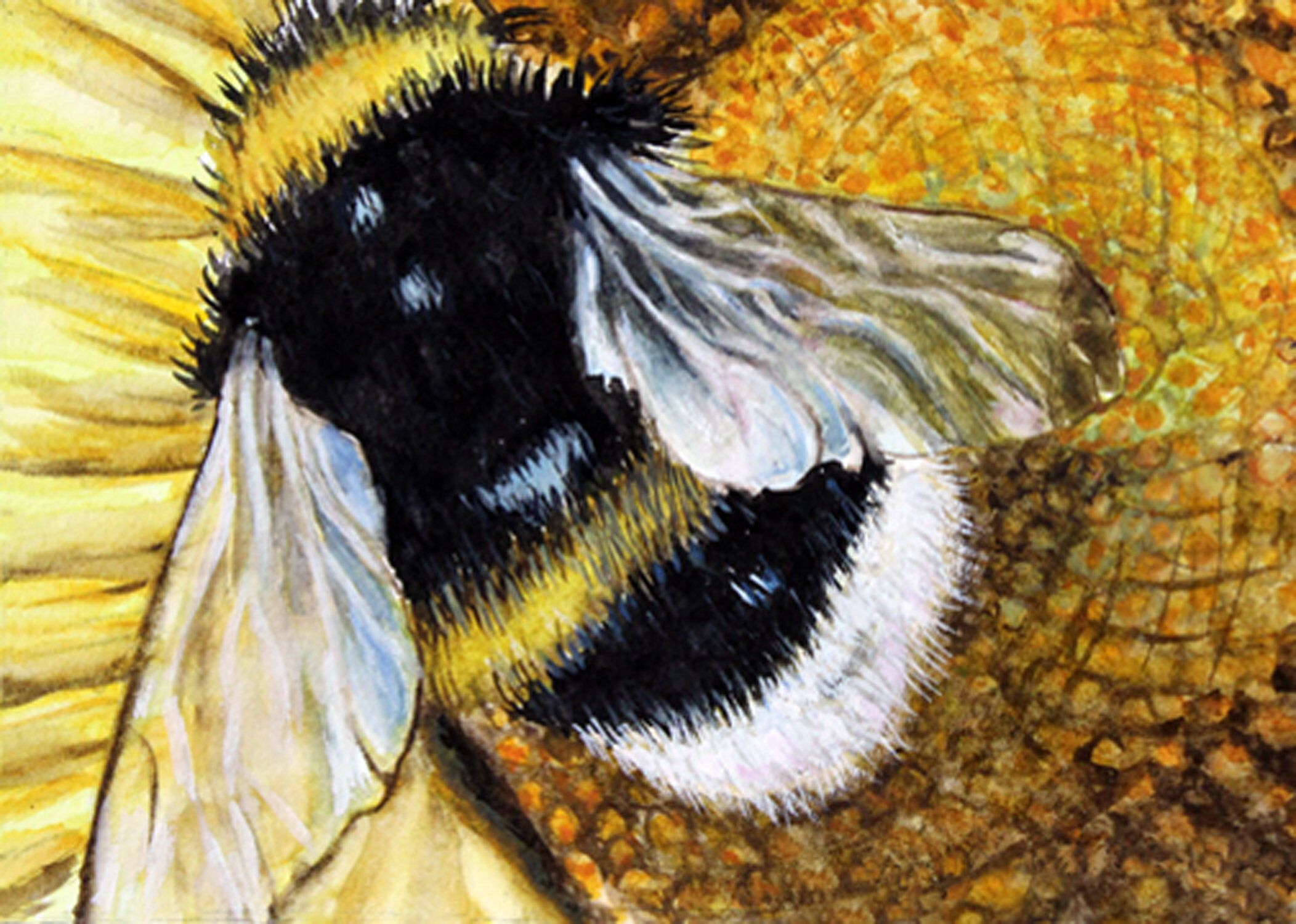 Bumble bee painting fine art print watercolor wash