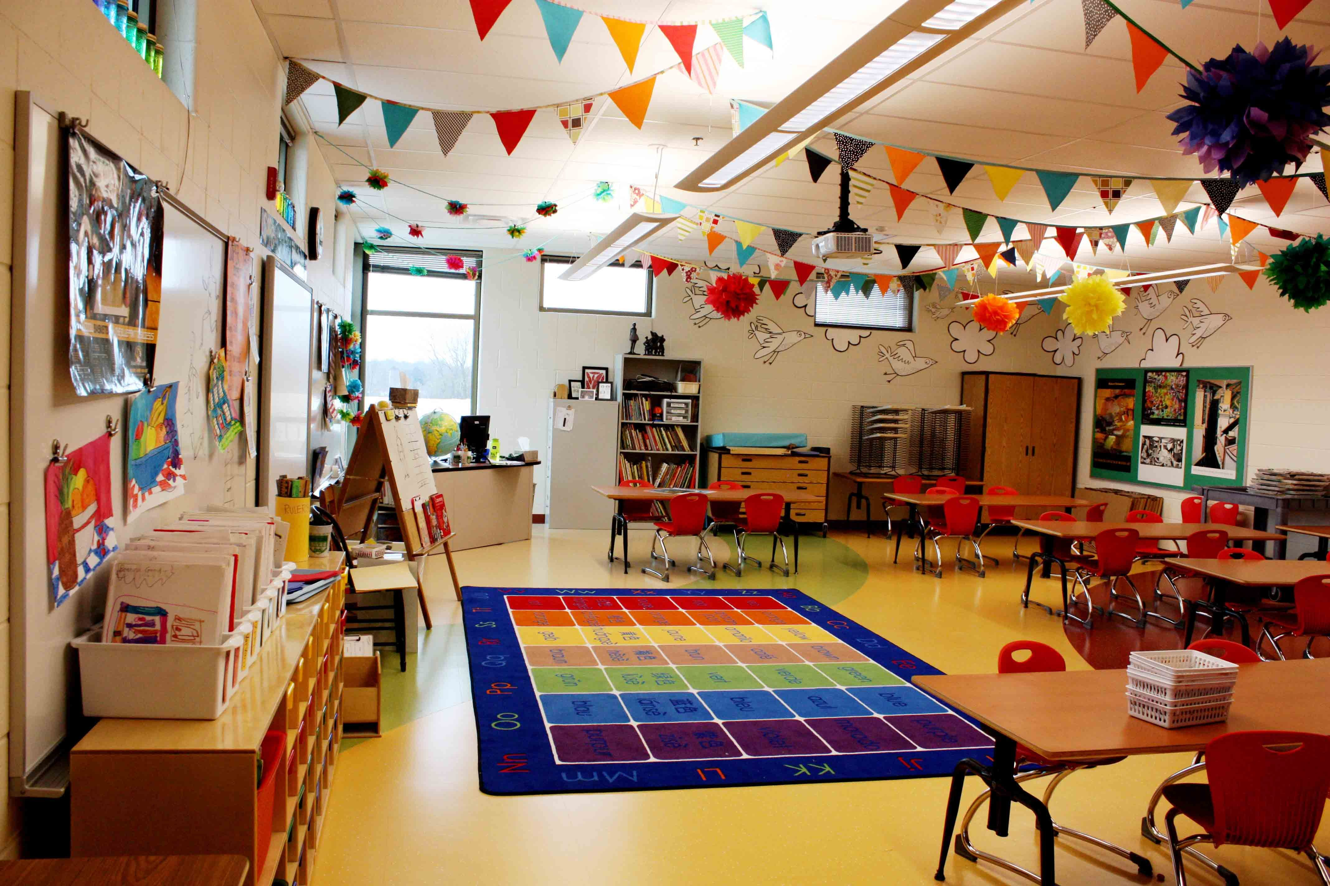 Colorful Garland In An Art Classroom Elementary Art