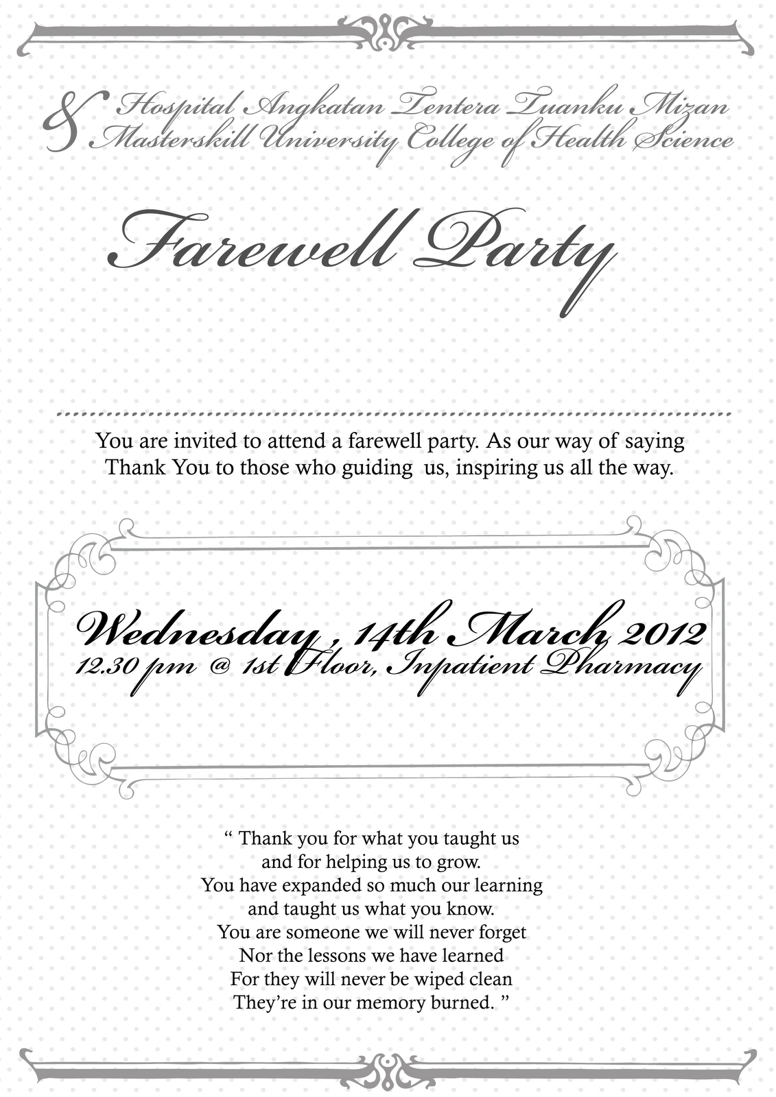 Invitation Card For Farewell Party Party Invitation Cakes