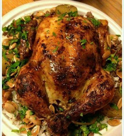 طريقة عمل وصفة دجاج محشي بالفرن بالصور من Nadia Aboud Recipe Cookout Food Savoury Food Cooking