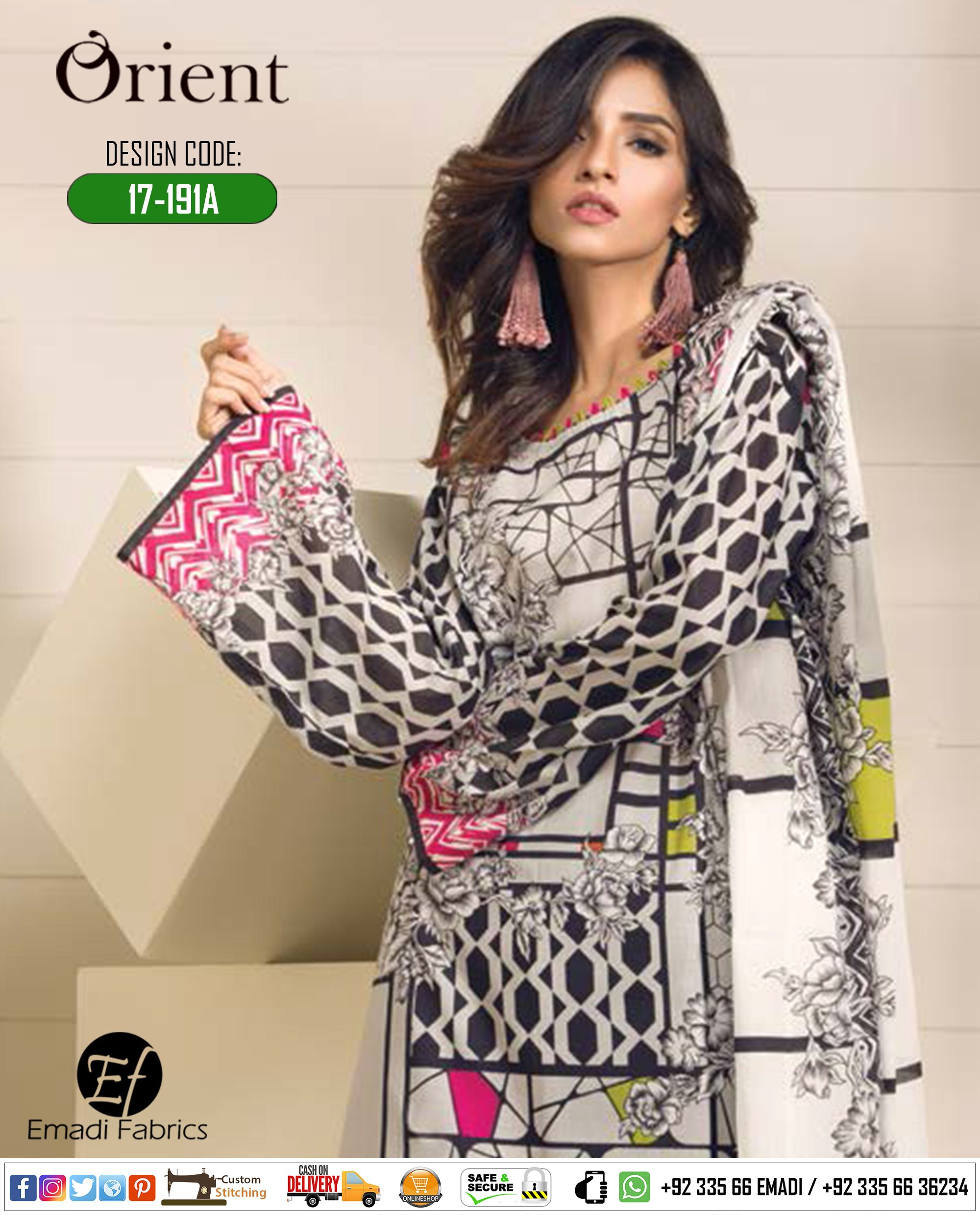 902acffe5bb ORIENT - SAWAN PREMIUM EMBROIDERED COLLECTION 2017. Design Code: 17-191A  Price Rs