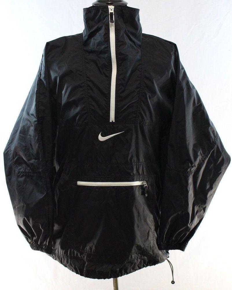 Vintage Nike Xl Black Pullover Windbreaker Jacket Half Zip Og Euc Pullover Windbreaker Vintage Nike Windbreaker Jacket