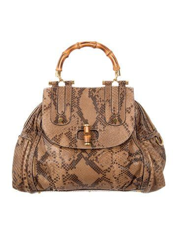  ☆ Follow: CorsetsAndCouture ☆  #designer #handbags #forsale #preowned #authentic #Gucci Python Heritage Bamboo Bag