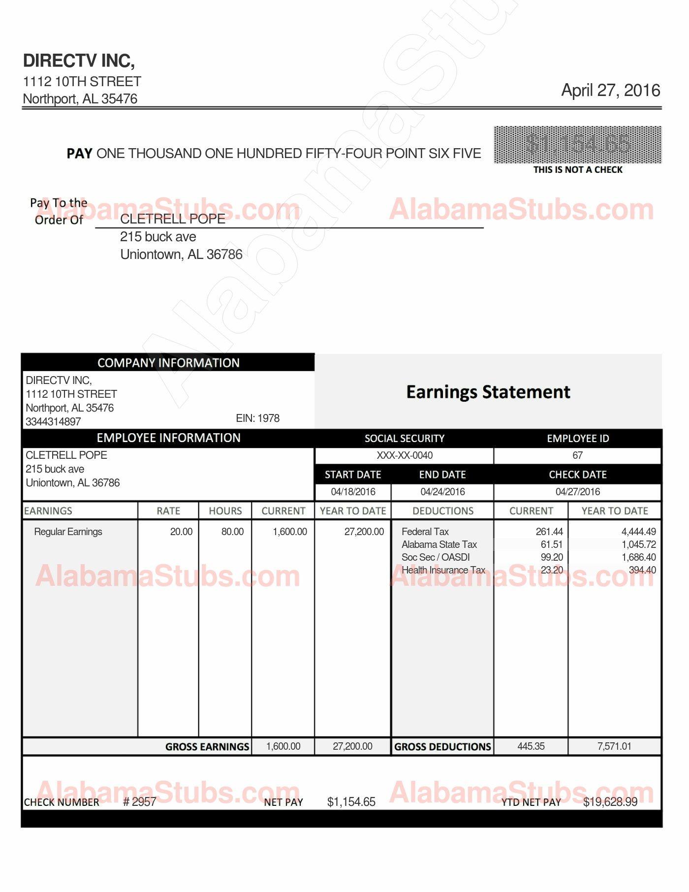 Alabama hourly employee paystub generator alabamastubs com