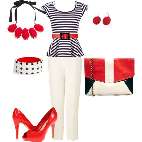 Plus size black, white and red work outfit, created by penny-martin on Polyvore