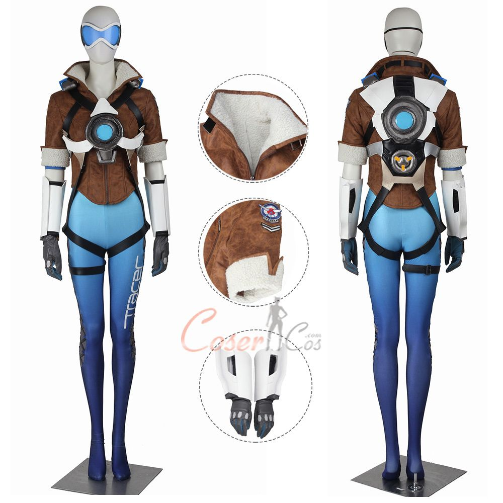 Tracer Costume Overwatch Cosplay Lena Oxton Blue Color in