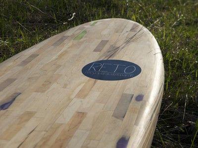 Surfboard made from broken skateboard decks- amazing!