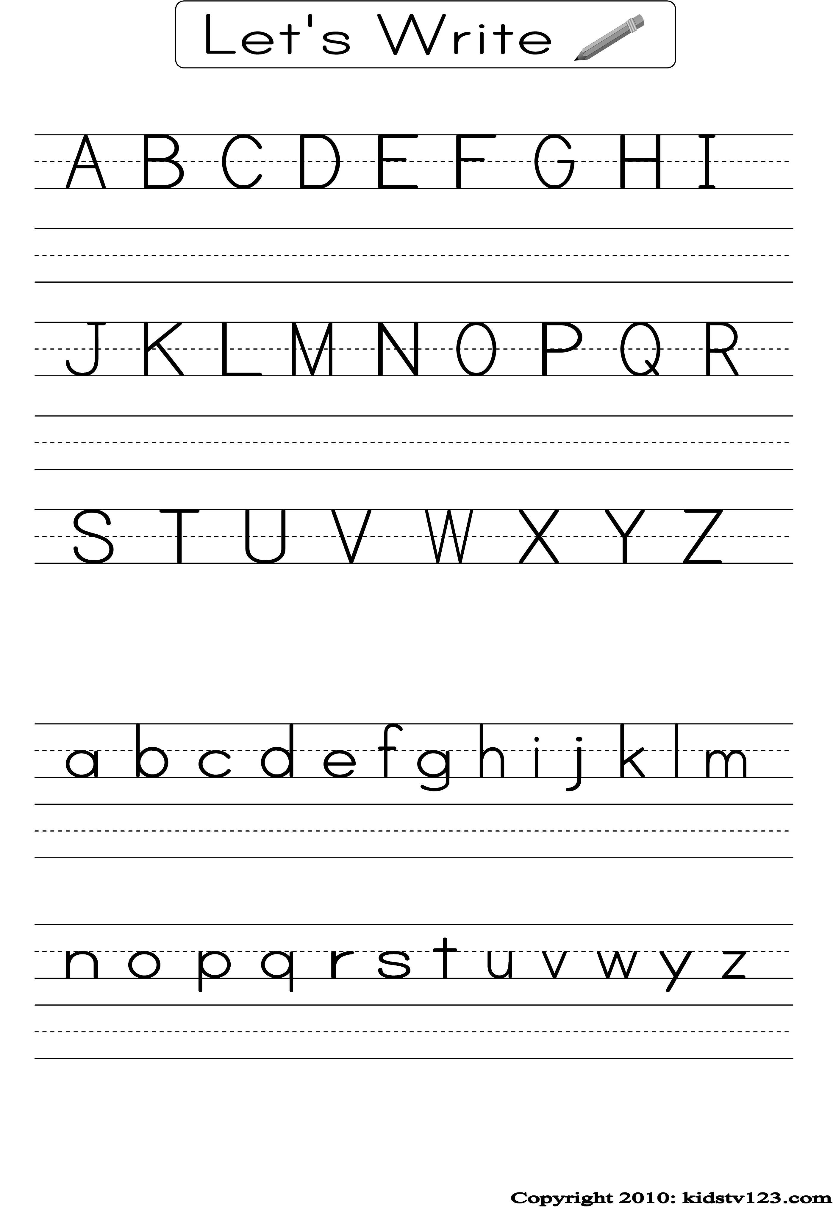English alphabet writing in four lines pdf