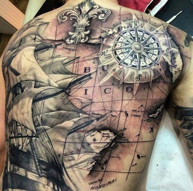 Love This Back Tattoo Karten Tattoos Weltkarte Tätowierungen Piraten Tattoo
