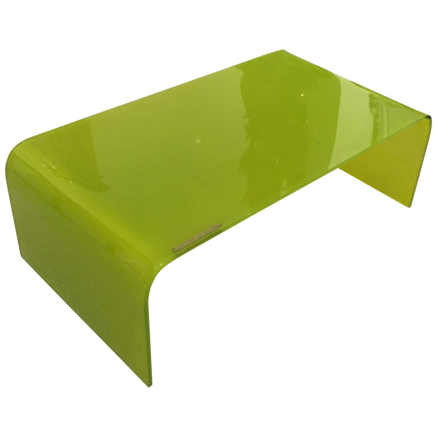 Italian Green Glass Waterfall Coffee Table by Stratos Rett Italy
