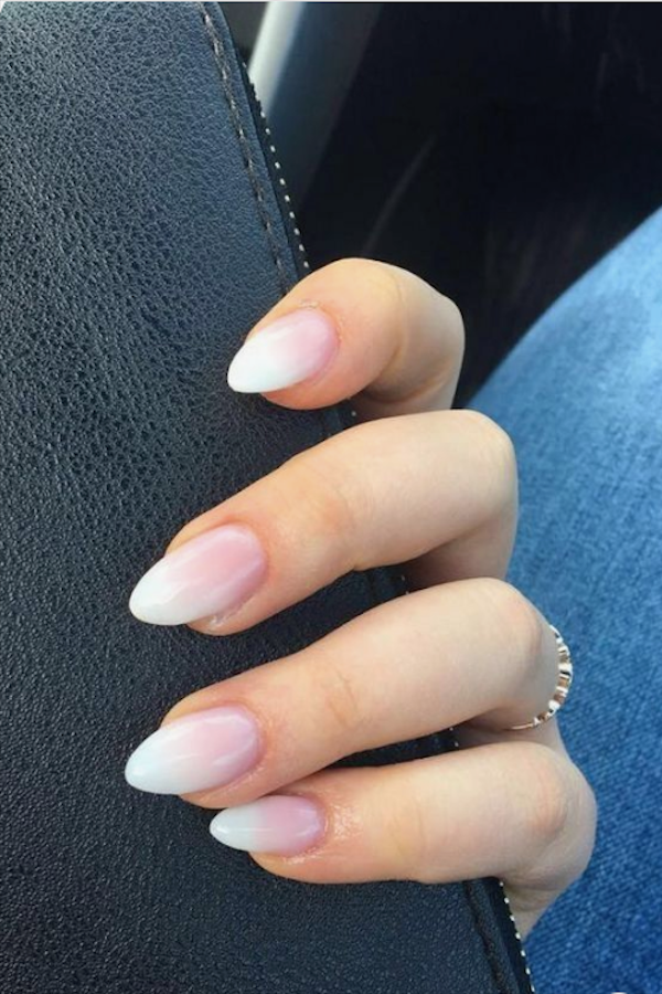 Pink And White Nails Brandon : white, nails, brandon, Charming, Almond, Ideas, Short, Nails, Pink,, Ombre, Acrylic, Nails,, French
